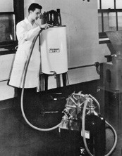 man with science equipment